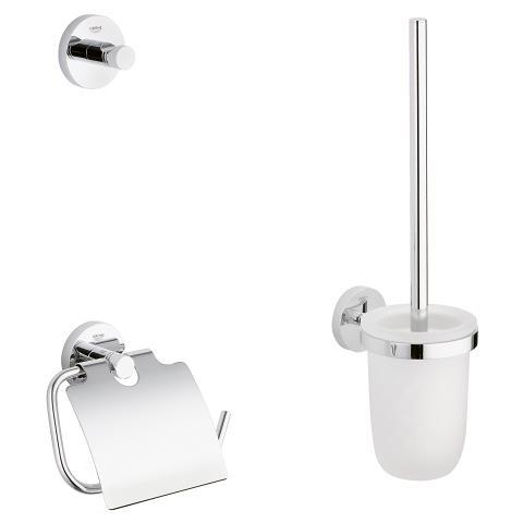 Set accesorii baie Grohe Essentials City 3 in 1, perie WC cu suport, suport hartie igienica, cuier prosop, fixare ascunsa, crom-40407001 imagine