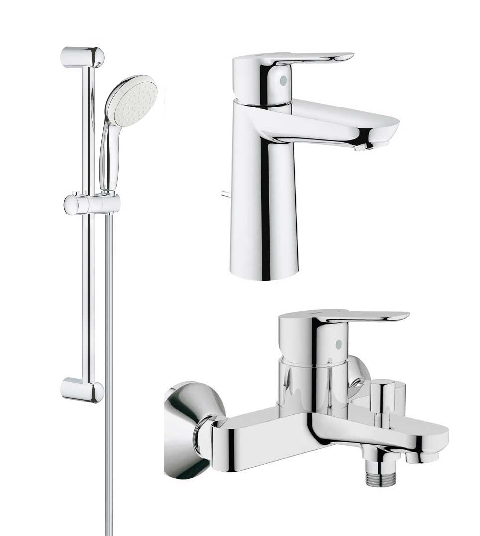 Pachet complet baterii baie inaltime medie Grohe Bau Edge ( 23758000,23334000,27853001) imagine 2021 baterii-lux.ro