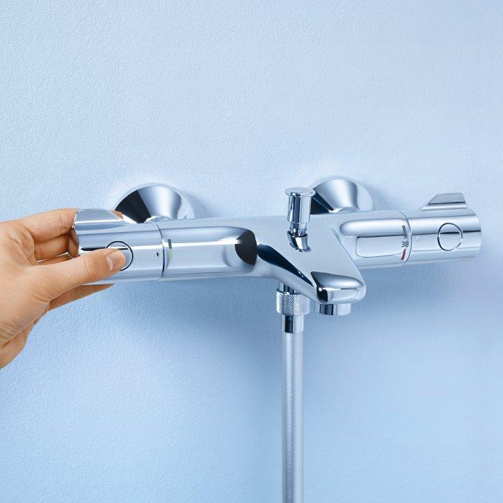 Baterie cada cu termostat Grohe Grohtherm 800, cartus termostatat, filtru impuritati, diverter, Crom-34567000 imagine