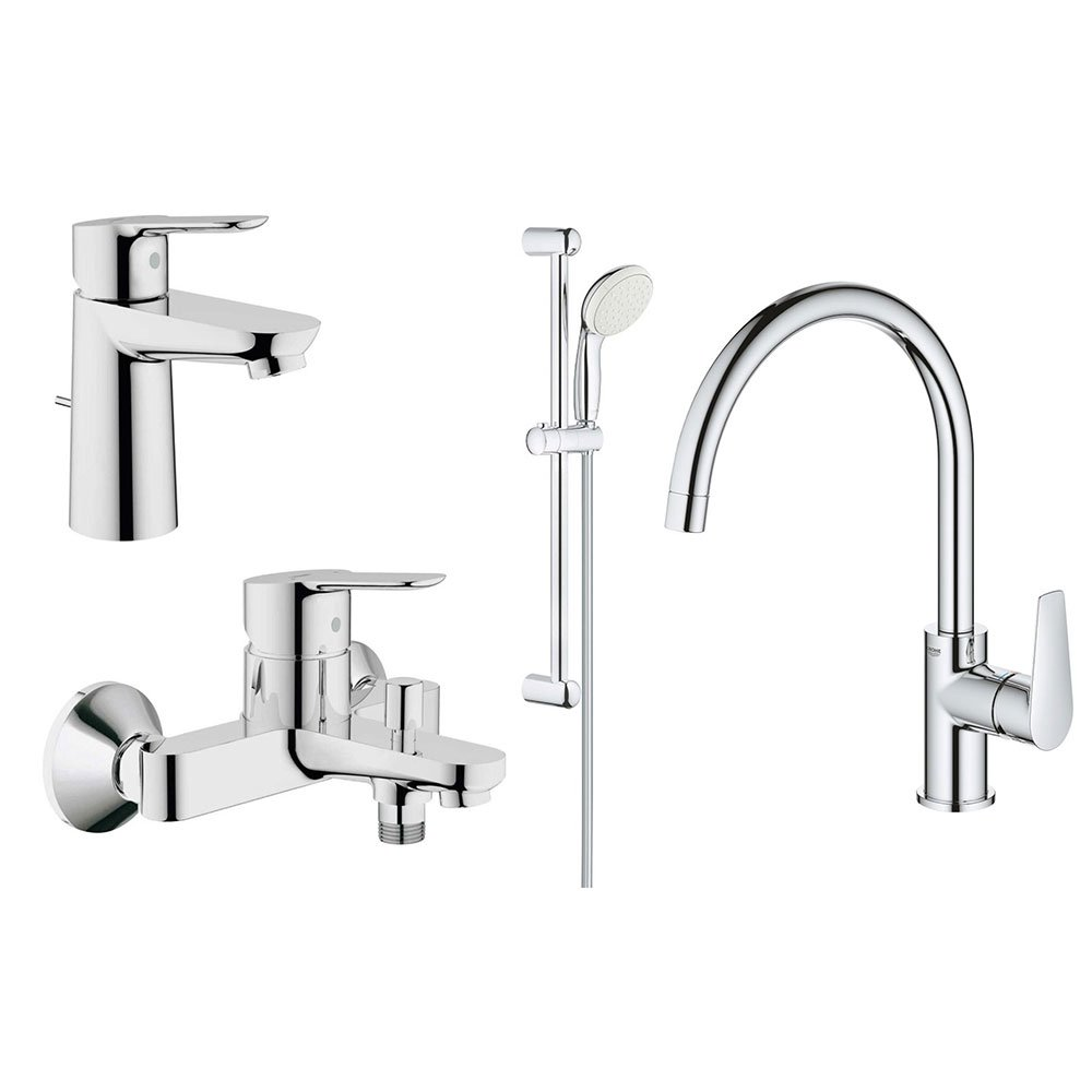 Set baterii baie si bucatarie Grohe Bauedge bara(GRO112927,31367001) imagine 2021 baterii-lux.ro