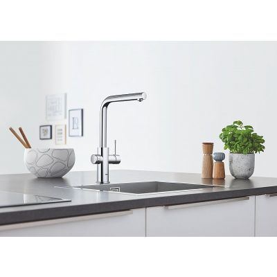 Baterie bucatarie Grohe Blue Home , pipa inalta tip L, filtrare, racire, apa carbogazoasa, dus extractabil, crom-31539000