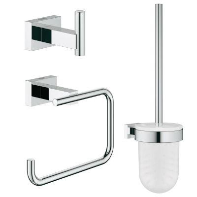 Set accesorii baie 3 in 1 Grohe Essentials Cube-40757001,agatoare baie,suport hartie igienica,perie wc