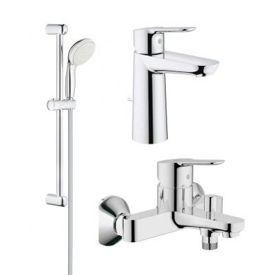 Pachet complet baterii baie inaltime medie Grohe Bau Edge-GRO112929