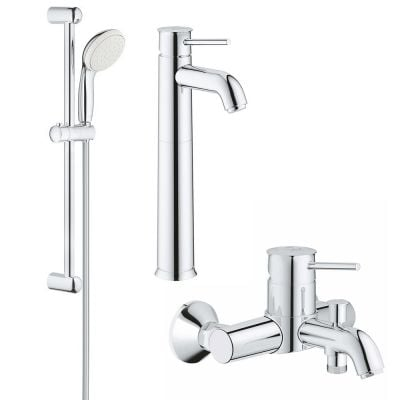 Set complet baterii baie 3 in1 Grohe Classic marimea XL,montare blat  (23784000,23787000,27853001)