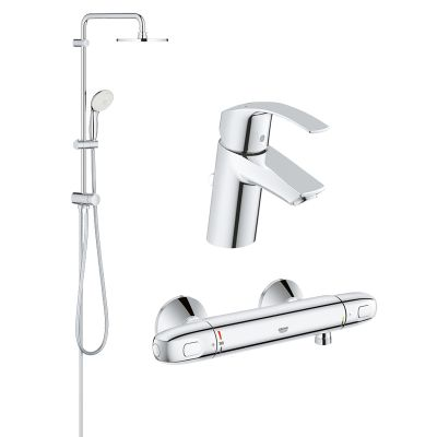 Pachet coloana dus Grohe New Tempesta 200, crom, montare pe perete, baterie termostat Grohtherm 1000 New, plus baterie lavoar Grohe Eurosmart S  (27389002, 34143003, 33265002)