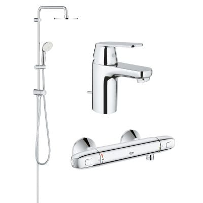 Pachet coloana dus Grohe New Tempesta 200, crom, montare pe perete,baterie termostat Grohtherm 1000 New, baterie lavoar Grohe Eurosmart Cosmo, marimea S (27389002, 34143003, 32825000)