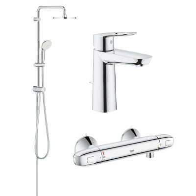 Pachet coloana dus Grohe New Tempesta 200, crom, montare pe perete, baterie termostat Grohtherm 1000 New,baterie lavoar Grohe Bauloop, marimea M (27389002, 34143003, 23762000)