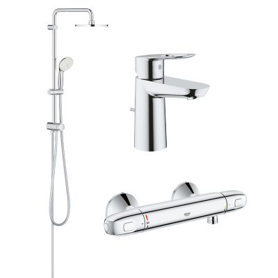 Pachet coloana dus Grohe New Tempesta 200, crom, baterie dus termostat Grohtherm 1000 New, baterie lavoar Grohe Bauloop S (27389002, 34143003, 23335000)