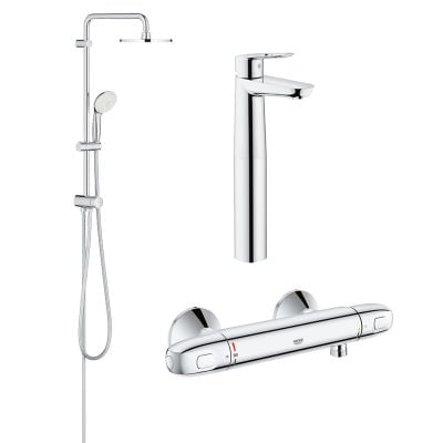 Pachet coloana dus Grohe New Tempesta 200, crom, montare pe perete, baterie termostat Grohtherm 1000 New, baterie lavoar montare pe blat Grohe Bauloop XL (27389002, 34143003, 23764000)