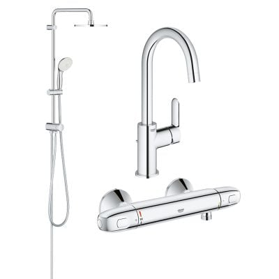 Pachet coloana dus Grohe New Tempesta 200, crom, montare pe perete, baterie cabina dus termostat Grohtherm 1000 New, baterie lavoar Grohe BauEdge, marimea L (27389002, 34143003, 23760000)