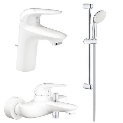 Pachet 3 in 1 baterii baie Grohe Eurostyle, marimea S, alb,maner plin  (23726LS3,23707LS3,27853001)
