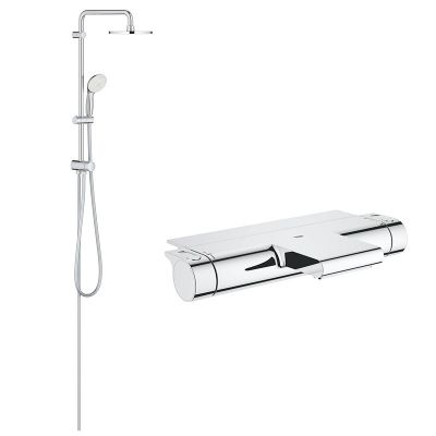 Coloana cabina dus cu termostat, Grohe Grohtherm 2000 New, palarie 200mm,jet,crom(34464001 ,27389002)