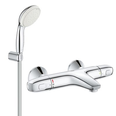 Pachet: Baterie Grohe cada/dus termostat Grohtherm 1000-34155003 + Set dus Grohe New Tempesta 100-27799001