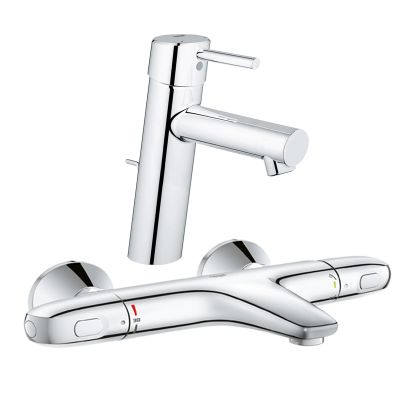 Pachet: Baterie Grohe cada/dus termostat Grohtherm 1000-34155003 + Baterie lavoar Grohe Concetto New M size-23450001