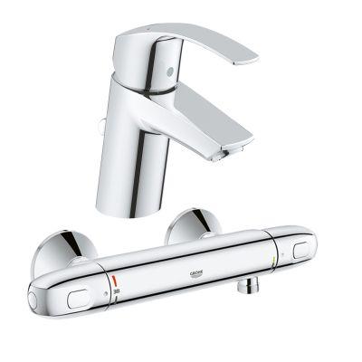 Pachet: Baterie de dus cu termostat Grohtherm 1000 New -34143003, Baterie lavoar Grohe Eurosmart S size -33265002