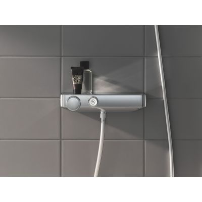 Baterie cabina dus cu termostat Grohe Grohtherm SmartControl, butoane push, CoolTouch, EasyTray, crom -34719000