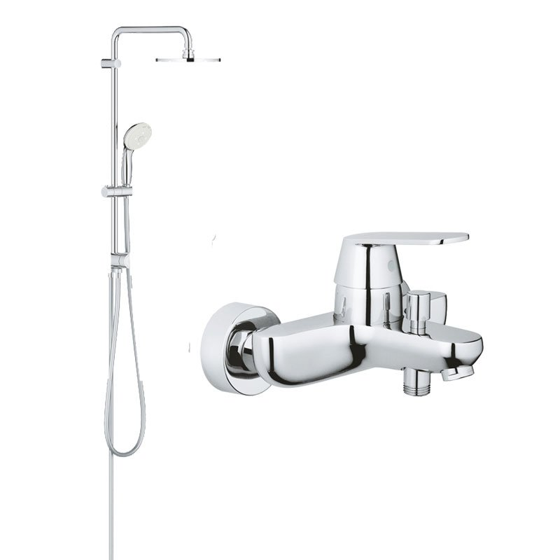 Pachet:Coloana dus Grohe New Tempesta 200,crom, baterie cada dus Eurosmart Cosmo (27389002, 32831000) imagine 2021 baterii-lux.ro