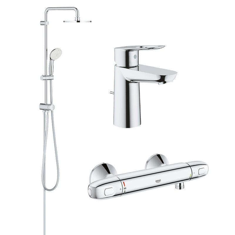 Pachet coloana dus Grohe New Tempesta 200, crom, baterie dus termostat Grohtherm 1000 New, baterie lavoar Grohe Bauloop S (27389002, 34143003, 23335000) imagine 2021 baterii-lux.ro