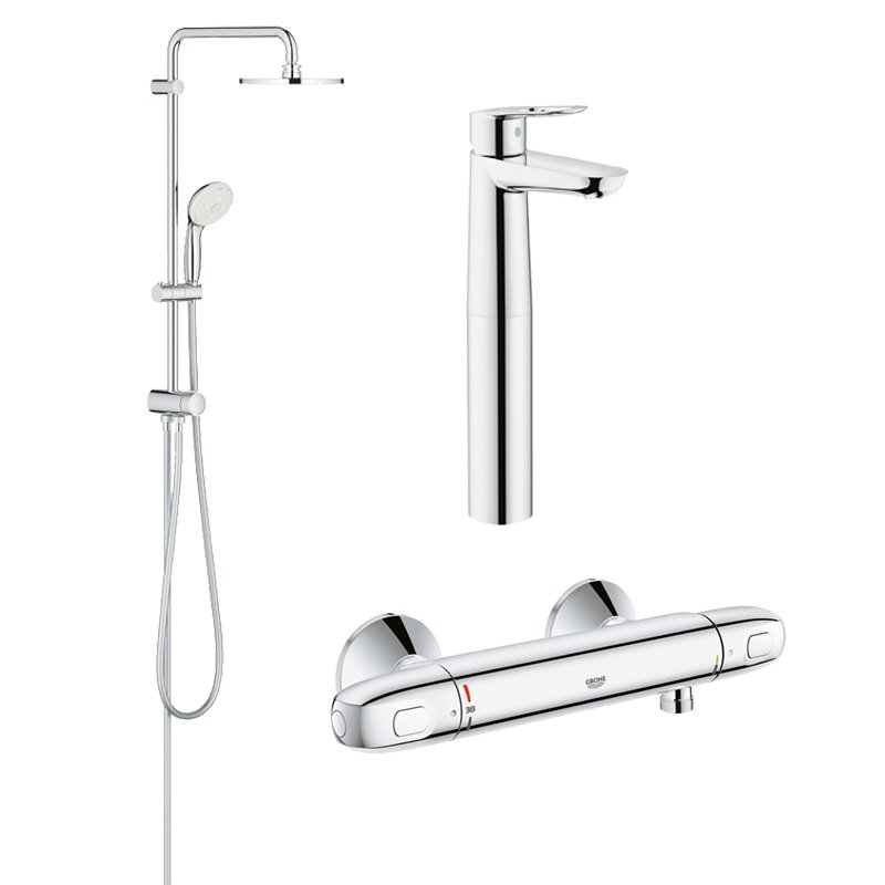 Pachet coloana dus Grohe New Tempesta 200, crom, montare pe perete, baterie termostat Grohtherm 1000 New, baterie lavoar montare pe blat Grohe Bauloop XL (27389002, 34143003, 23764000) imagine