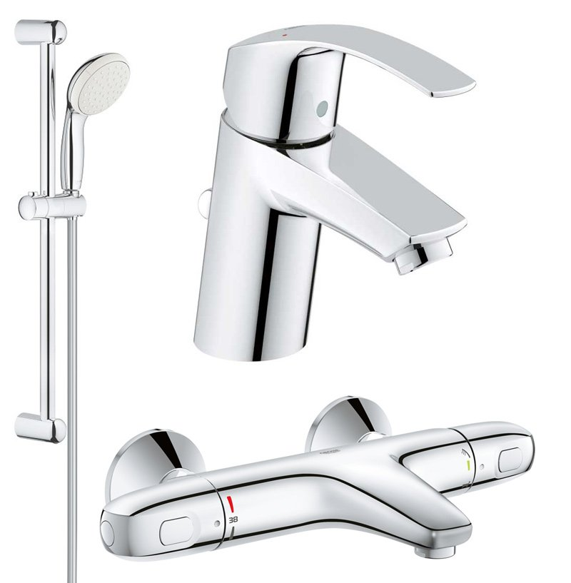 Set complet baterii baie cada termostat Grohe Grohtherm 1000 (33265002,34155003,27853001) imagine 2021 baterii-lux.ro