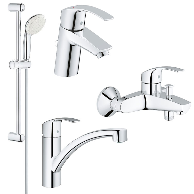 Set complet baterii baie si bucatarie Grohe Eurosmart New-(33265002,33300002,27853001,33281002) imagine 2021 baterii-lux.ro
