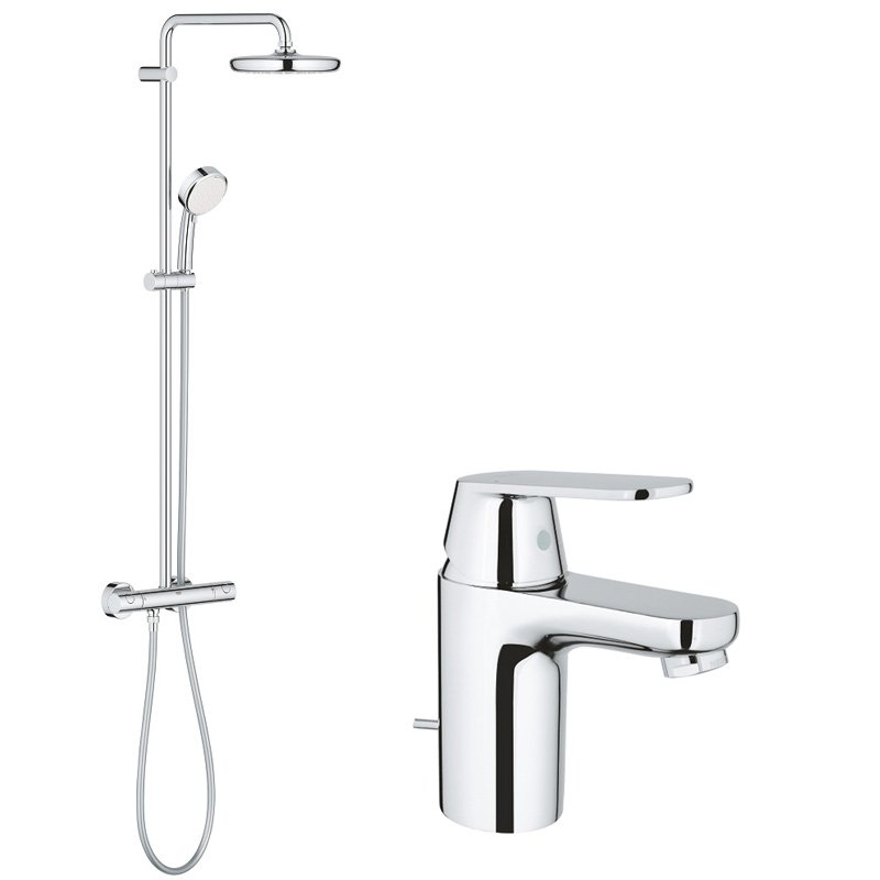 Pachet: Baterie lavoar Grohe Eurosmart Cosmo S-32825000, Coloana dus Grohe New Tempesta 210-27922001 imagine 2021 baterii-lux.ro