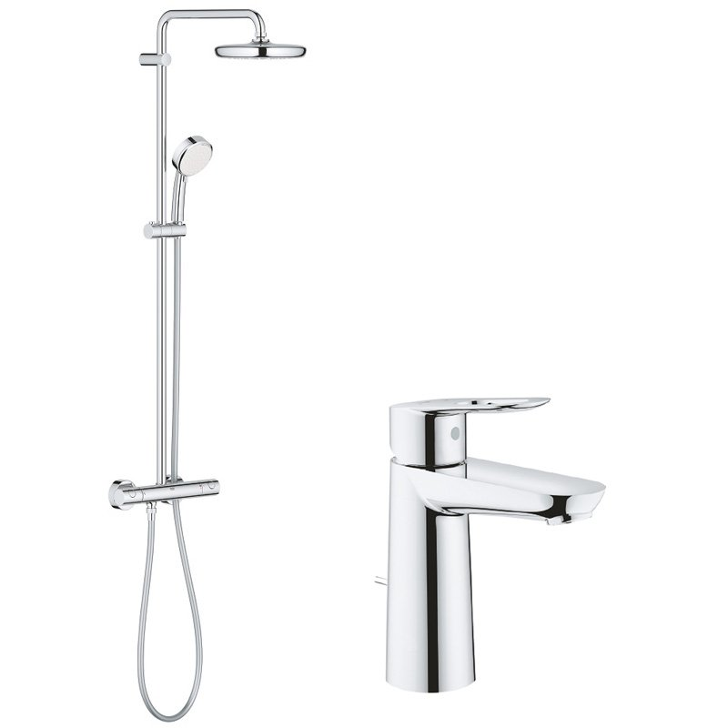 Pachet: Coloana dus Grohe New Tempesta 210-27922001, Baterie lavoar Grohe Bauloop M size imagine 2021 baterii-lux.ro