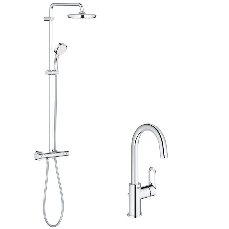 Pachet: Coloana dus Grohe New Tempesta 210-27922001, Bateria lavoar Grohe Bauloop L-23763000 imagine