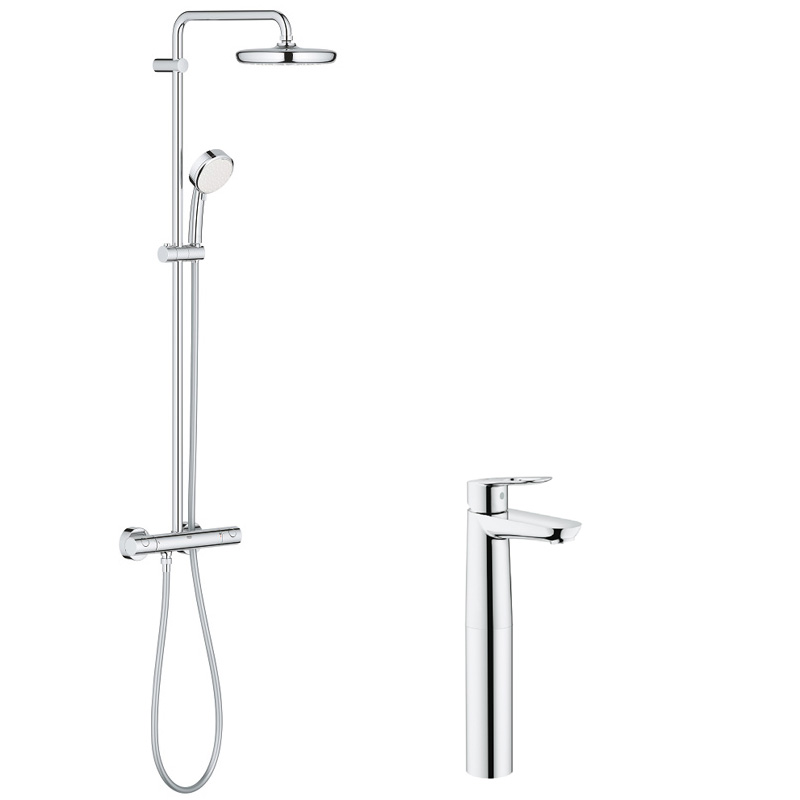 Pachet: Coloana dus Grohe New Tempesta 210-27922001, Baterie lavoar montare pe blat Grohe Bauloop XL-23764000 imagine 2021 baterii-lux.ro