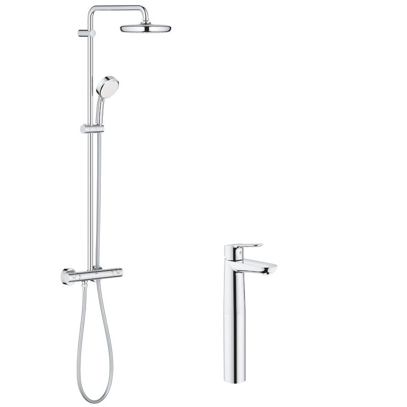 Pachet: Coloana dus Grohe New Tempesta 210-27922001, Baterie lavoar blat Grohe BauEdge XL-23761000 imagine 2021 baterii-lux.ro