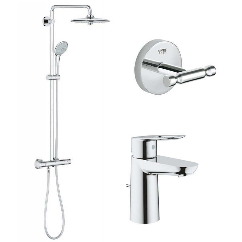 Pachet: Coloana dus Grohe Euphoria 260-27296002, Baterie lavoar Grohe Bauloop-23335000, Agatatoare baie Grohe Baucosmo-40461001 imagine 2021 baterii-lux.ro