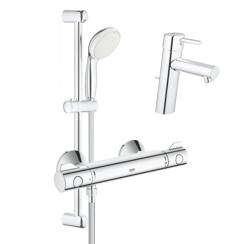 Pachet: Baterie dus Grohe Grohtherm 800 si Set dus cu bara Tempesta Mono-34565001, Baterie lavoar inaltime medie Grohe Concetto New-23450001 imagine 2021 baterii-lux.ro