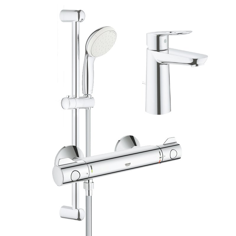 Pachet: Baterie cabina dus termostat Grohe Grohtherm 800-34565001, Baterie lavoar Grohe Bauloop marimea M-23762000 imagine 2021 baterii-lux.ro