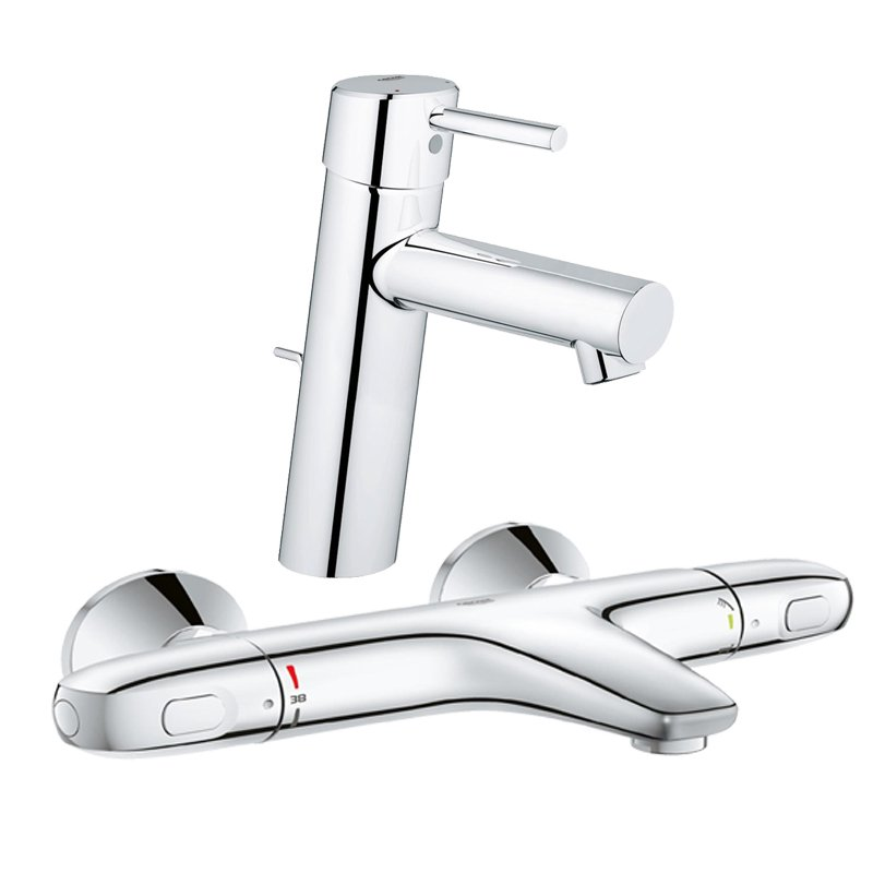 Pachet: Baterie Grohe cada/dus termostat Grohtherm 1000-34155003 + Baterie lavoar Grohe Concetto New M size-23450001 imagine 2021 baterii-lux.ro