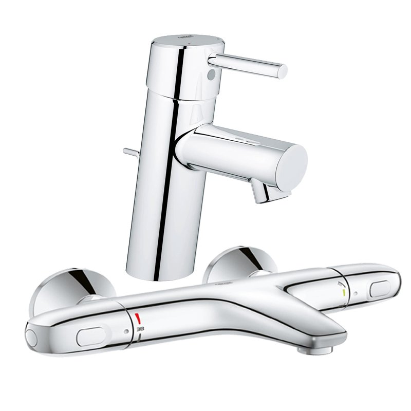 Pachet: Baterie Grohe cada/dus termostat Grohtherm 1000-34155003 + Baterie lavoar Grohe Concetto New -32204001 imagine 2021 baterii-lux.ro