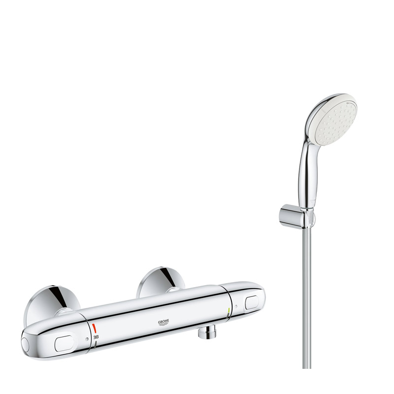 Pachet promo: Baterie cabina dus termostat Grohe Grohtherm 1000 New + set dus Grohe New Tempesta(34143003,27799001) imagine 2021 baterii-lux.ro