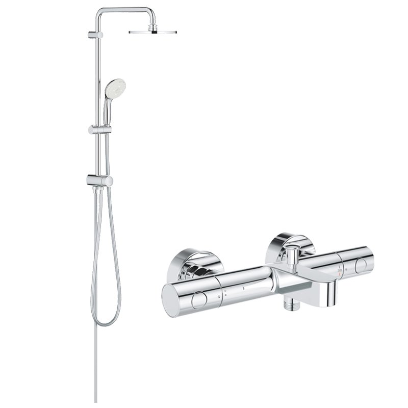 Pachet: Coloana dus Grohe 200, baterie cada/dus termostat Grohtherm 1000 Cosmo(27389002,34215002) imagine 2021 baterii-lux.ro