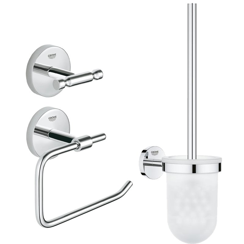 Set accesorii baie Grohe BauCity 3 in 1, perie wc (40463001) , suport hartie igienica(40457001), cuier prosop dublu (40461001) imagine