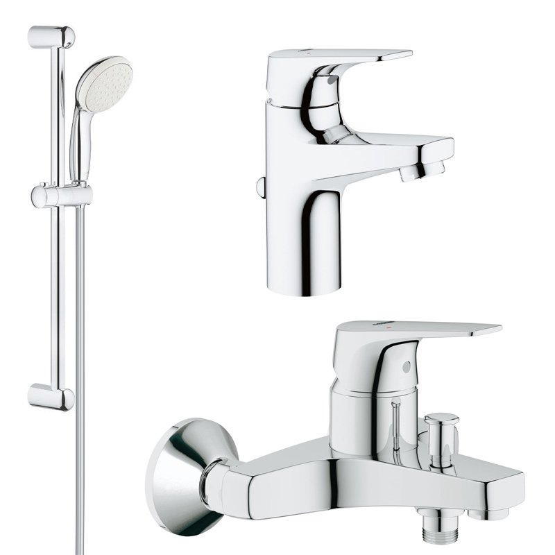 Pachet promo baterii baie 3 in 1 Grohe Bauflow S (23751000,23756000,27853001) imagine 2021 baterii-lux.ro