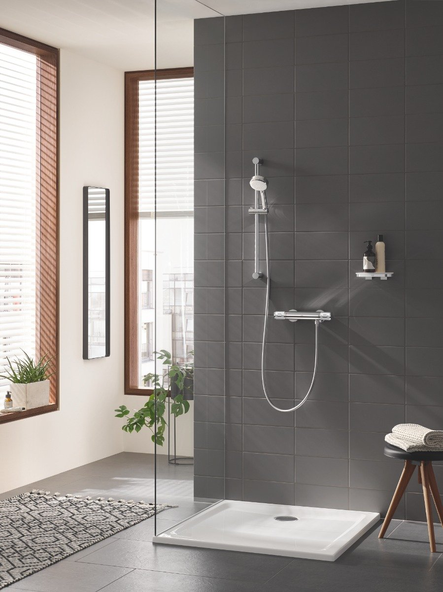 Baterie cabina dus Grohe Grohtherm 1000 Performance,termostat,crom,montare perete,set dus-(34776000,27578002) imagine 2021 baterii-lux.ro