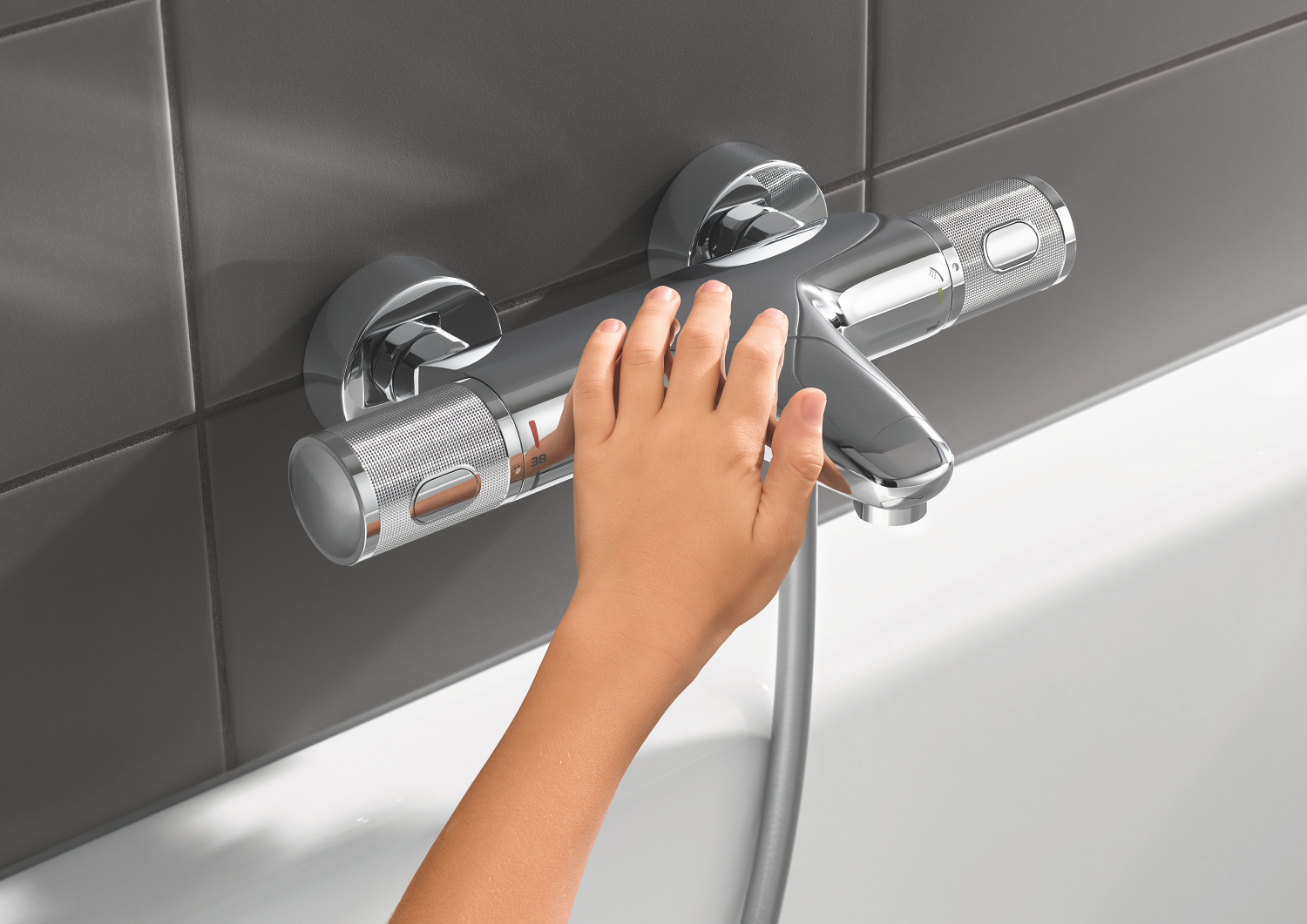 Baterie cada/dus Grohe Grohtherm 1000 Performance,termostat,crom,montare perete-34779000 imagine 2021 baterii-lux.ro